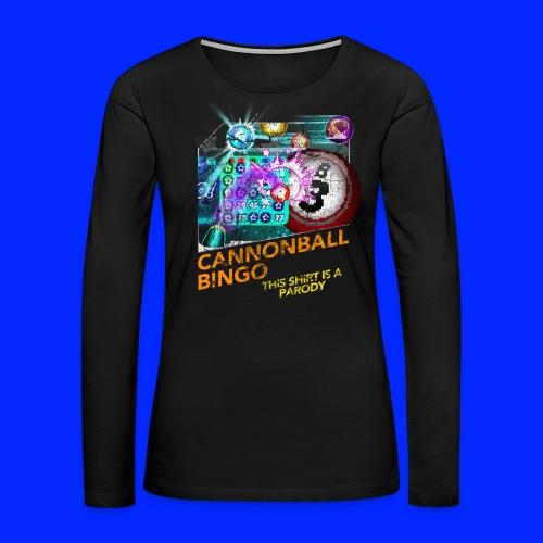 Vintage Cannonball Bingo Box Art Tee - Women's Premium Slim Fit Long Sleeve T-Shirt