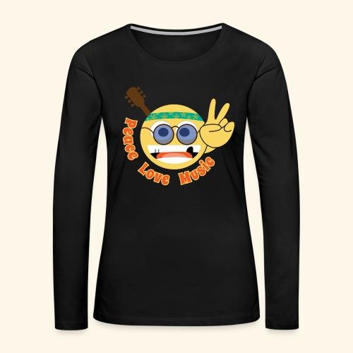 Peace love music hippie smiley - Women's Premium Long Sleeve T-Shirt