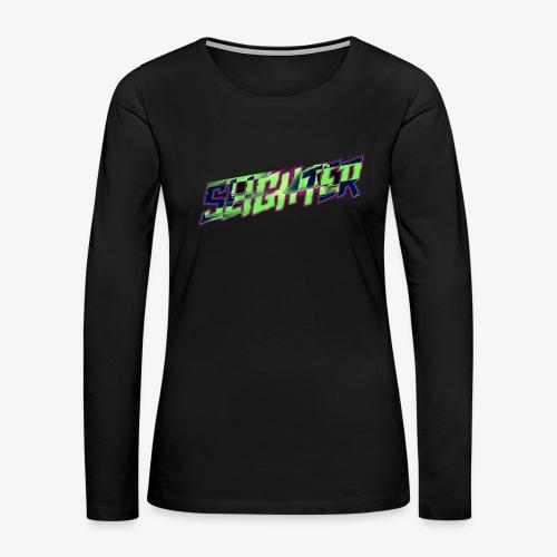 Retro Logo Glitch - Women's Premium Slim Fit Long Sleeve T-Shirt