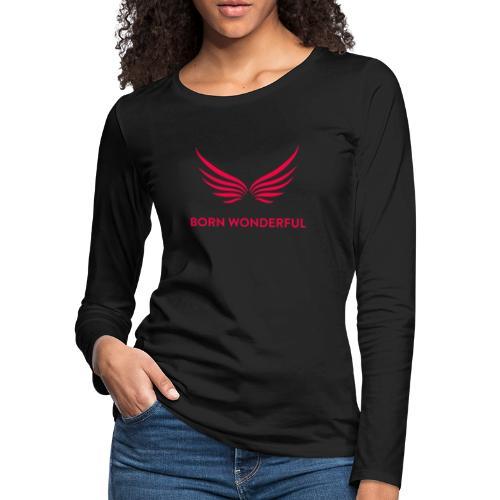 Red Born Wonderful Logo - Women's Premium Long Sleeve T-Shirt
