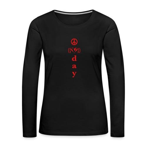 v day v heart peace vrtl - Women's Premium Slim Fit Long Sleeve T-Shirt