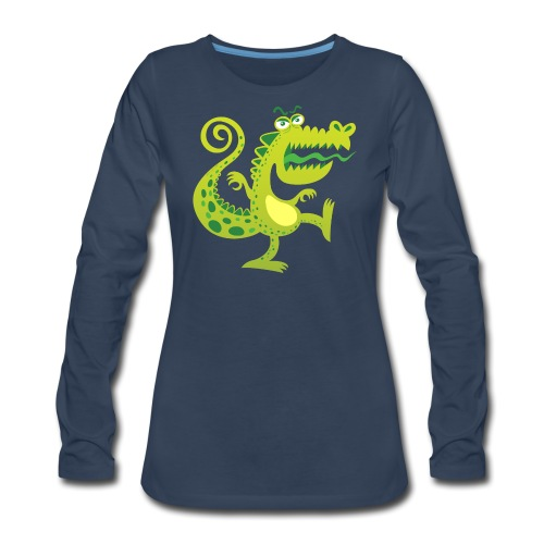 Scary reptile like monster growling in angry mood - Women's Premium Long Sleeve T-Shirt