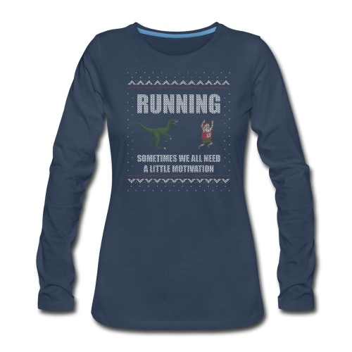 Ugly Christmas Sweater Running Dino and Santa - Women's Premium Long Sleeve T-Shirt