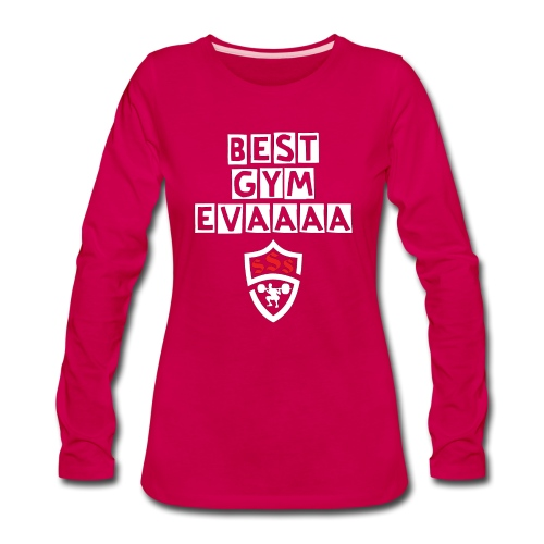 Best Gym Evaaa White and Red - Women's Premium Long Sleeve T-Shirt