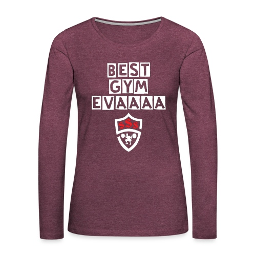 Best Gym Evaaa White and Red - Women's Premium Slim Fit Long Sleeve T-Shirt