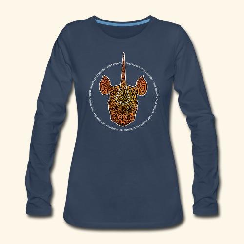 Dust Rhinos Orange Knotwork - Women's Premium Long Sleeve T-Shirt