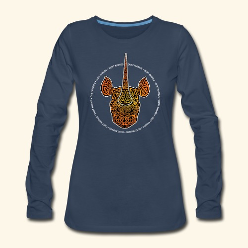 Dust Rhinos Orange Knotwork - Women's Premium Slim Fit Long Sleeve T-Shirt