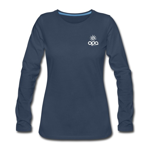 Long-sleeve t-shirt with small white OPA logo - Women's Premium Slim Fit Long Sleeve T-Shirt