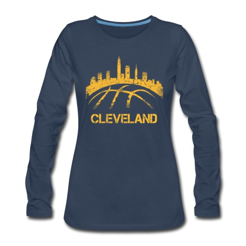 Cleveland Basketball Skyline - Women's Premium Slim Fit Long Sleeve T-Shirt
