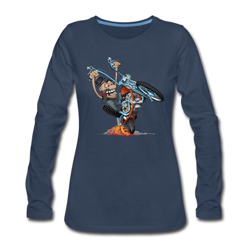 Funny biker riding a chopper cartoon - Women's Premium Long Sleeve T-Shirt