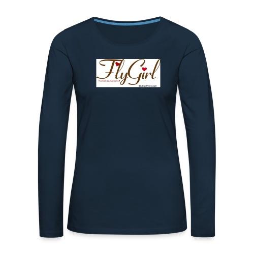 FlyGirlTextGray jpg - Women's Premium Slim Fit Long Sleeve T-Shirt