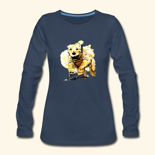 oil dog - Women's Premium Slim Fit Long Sleeve T-Shirt