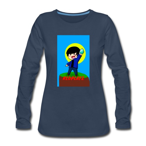 BLUE REDPLAYZ T-SHIRT ORIGINAL DESIGN - Women's Premium Slim Fit Long Sleeve T-Shirt
