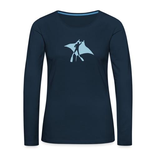 manta ray sting scuba diving diver dive fish ocean - Women's Premium Slim Fit Long Sleeve T-Shirt