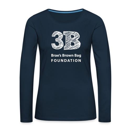 3b-square-logo-white-wosi - Women's Premium Slim Fit Long Sleeve T-Shirt
