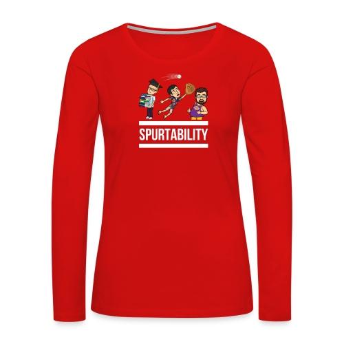 Spurtability White Text - Women's Premium Long Sleeve T-Shirt