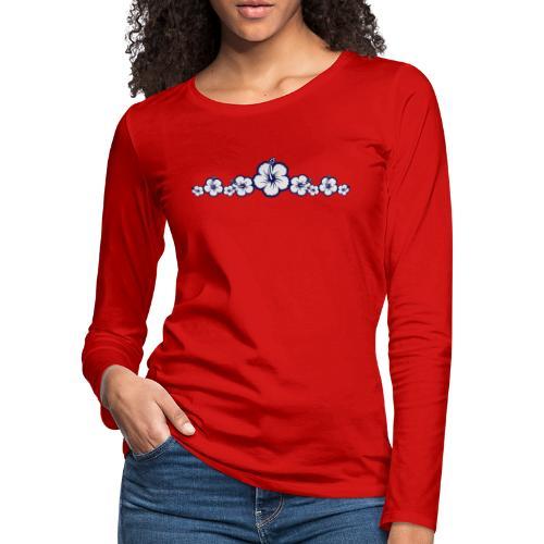 Hawaiian Hibiscus Flowers - Surfing Style - Women's Premium Long Sleeve T-Shirt