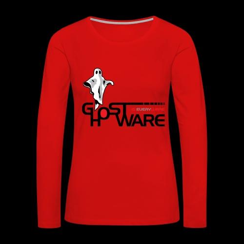 Ghostware Wide Logo - Women's Premium Slim Fit Long Sleeve T-Shirt