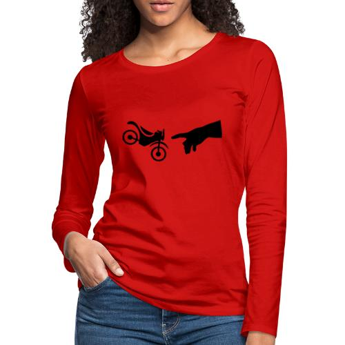 The hand of god brakes a motorcycle as an allegory - Women's Premium Slim Fit Long Sleeve T-Shirt