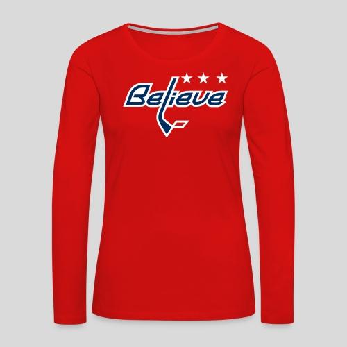 Believe Red Shirt - Women's Premium Slim Fit Long Sleeve T-Shirt