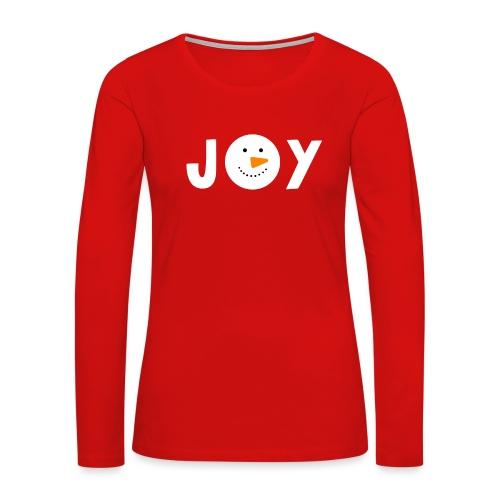 JOY - Snowman Christmas Design! - Women's Premium Slim Fit Long Sleeve T-Shirt