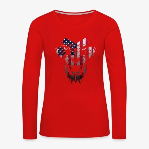 American Flag Lion Shirt - Women's Premium Long Sleeve T-Shirt