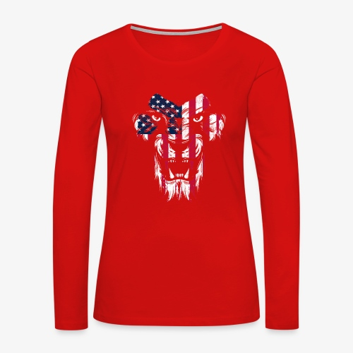 American Flag Lion - Women's Premium Slim Fit Long Sleeve T-Shirt