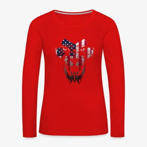 American Flag Lion Shirt - Women's Premium Slim Fit Long Sleeve T-Shirt