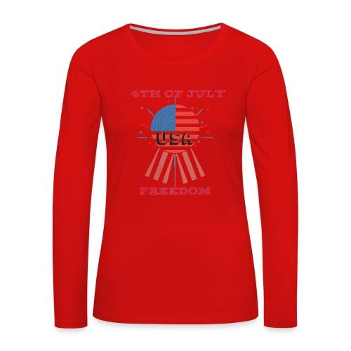 4th of July Freedom - Women's Premium Slim Fit Long Sleeve T-Shirt