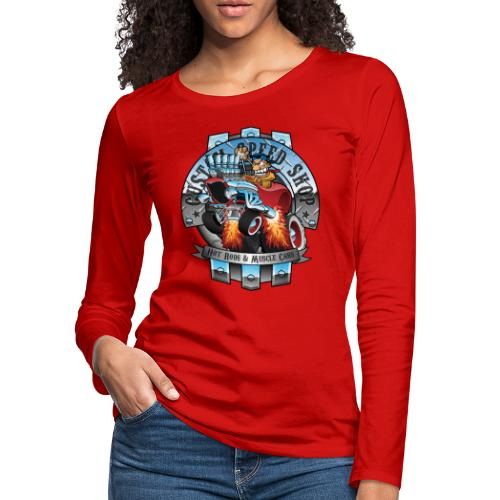 Custom Speed Shop Hot Rods and Muscle Cars Illustr - Women's Premium Long Sleeve T-Shirt