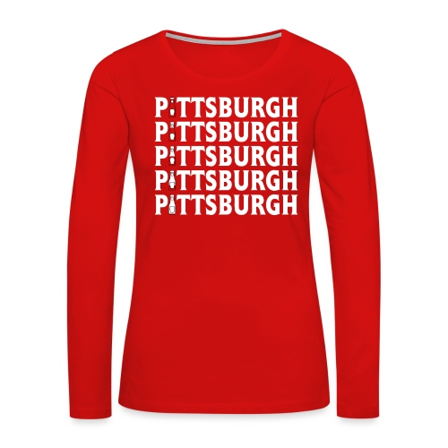 Ketch Up in PGH (Red) - Women's Premium Slim Fit Long Sleeve T-Shirt