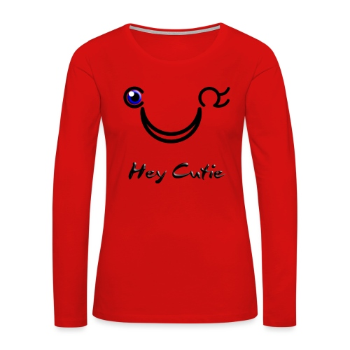 Hey Cutie Blue Eye Wink - Women's Premium Long Sleeve T-Shirt