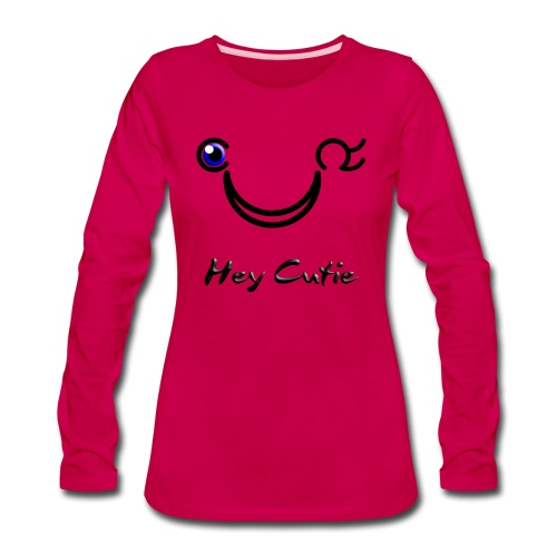 Hey Cutie Blue Eye Wink - Women's Premium Long Sleeve T-Shirt