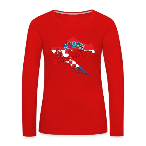 Croatia Football Team Colours T-Shirt Treasure Des - Women's Premium Slim Fit Long Sleeve T-Shirt