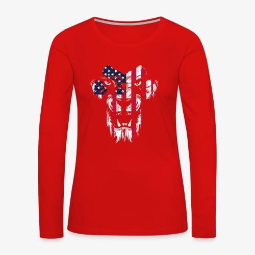 American Flag Lion - Women's Premium Long Sleeve T-Shirt