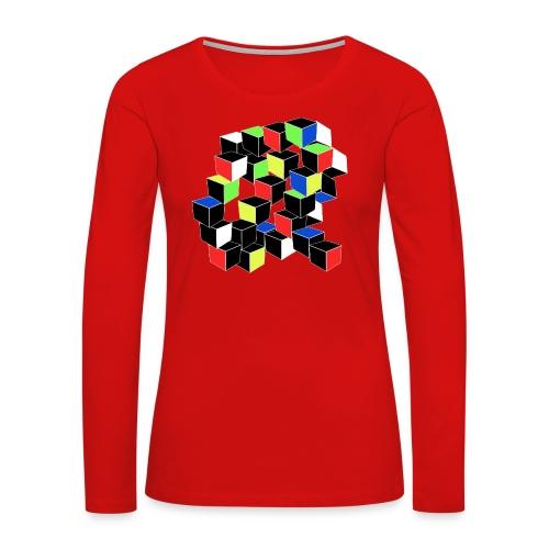 Optical Illusion Shirt - Cubes in 6 colors- Cubist - Women's Premium Long Sleeve T-Shirt