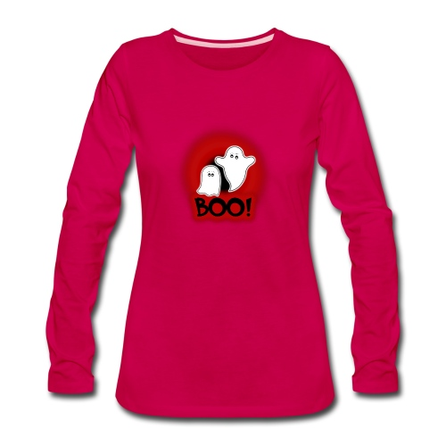 Ghosties Boo Happy Halloween 1 - Women's Premium Slim Fit Long Sleeve T-Shirt