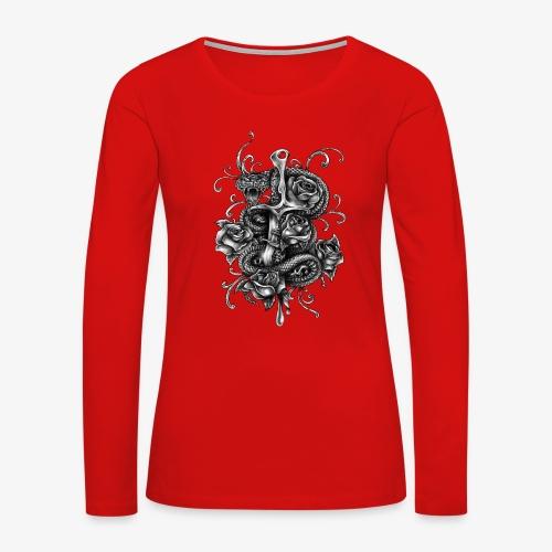 Dagger And Snake - Women's Premium Slim Fit Long Sleeve T-Shirt