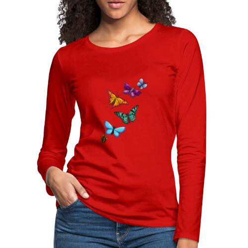 butterfly tattoo designs - Women's Premium Slim Fit Long Sleeve T-Shirt