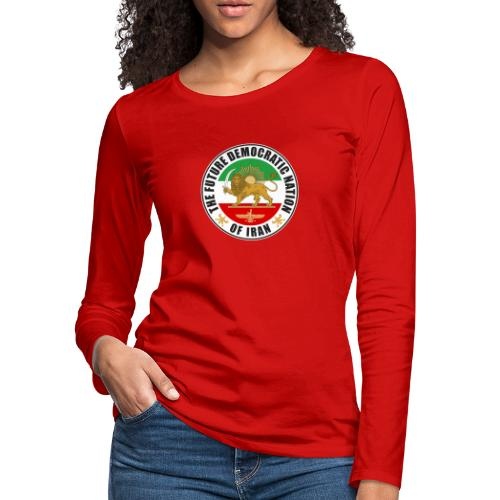 Iran Emblem Old Flag With Lion - Women's Premium Slim Fit Long Sleeve T-Shirt
