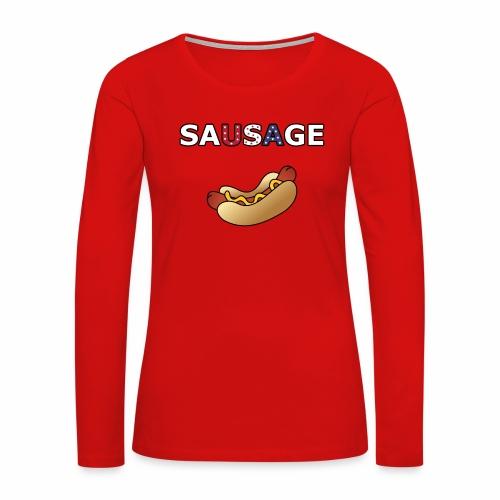 Patriotic BBQ Sausage - Women's Premium Slim Fit Long Sleeve T-Shirt