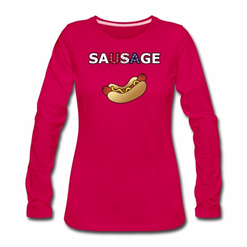 Patriotic BBQ Sausage - Women's Premium Long Sleeve T-Shirt