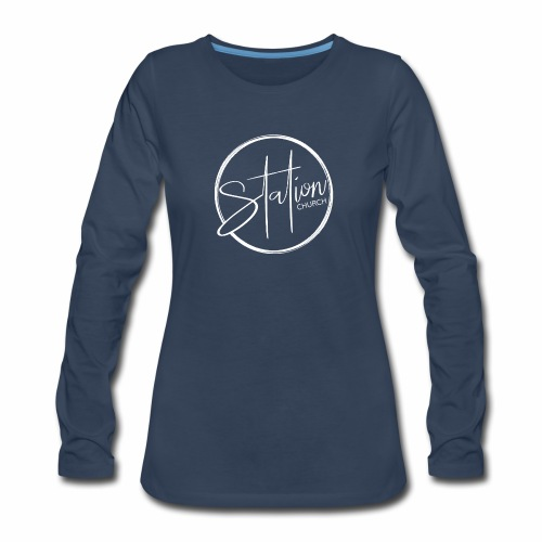White Logo - Women's Premium Slim Fit Long Sleeve T-Shirt