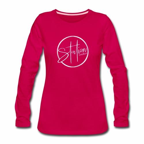 White Logo - Women's Premium Slim Fit Long Sleeve T-Shirt