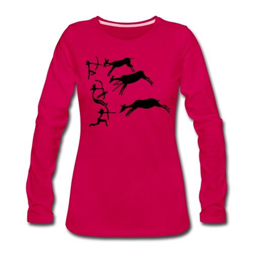Lascaux Cave Painting - Women's Premium Slim Fit Long Sleeve T-Shirt