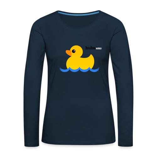 Hubs Duck - Wordmark and Water - Women's Premium Slim Fit Long Sleeve T-Shirt