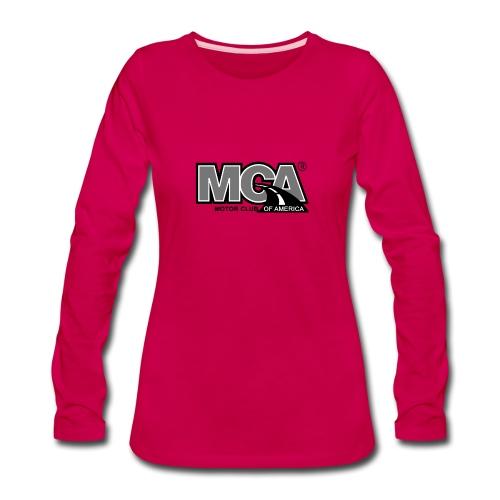 MCA Logo WBG Transparent BLACK WHITE TITLEfw fw pn - Women's Premium Slim Fit Long Sleeve T-Shirt