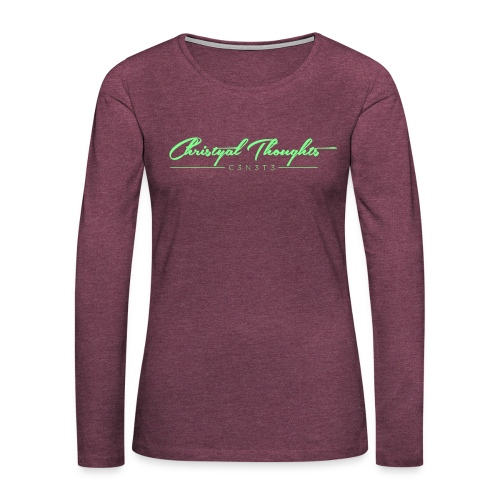 Christyal Thoughts C3N3T31 Lime png - Women's Premium Slim Fit Long Sleeve T-Shirt
