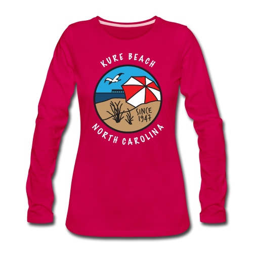 Kure Beach Day-White Lettering-Front Only - Women's Premium Long Sleeve T-Shirt