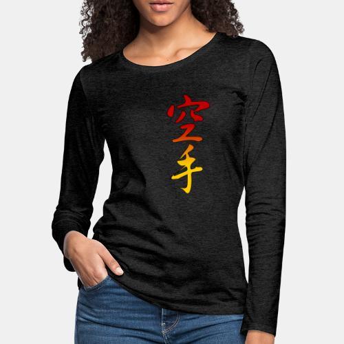Karate Kanji Red Yellow Gradient - Women's Premium Long Sleeve T-Shirt